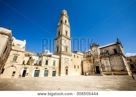 Basilica Church Of The Holy Cross. Lecce, Italy. Square Of The Famous Basilica Church Of The Holy Cr