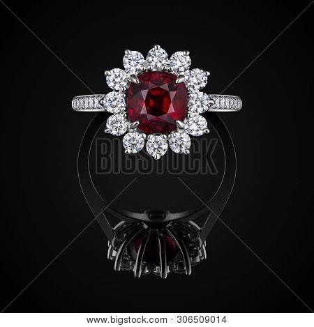Wedding Ring Front View With Red Ruby And White Diamonds On Black Background With Reflection. Jewell