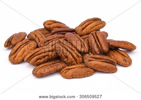 Pile Pecan Nuts Isolated On White Background. Heap Shelled Pecans Nut Closeup. Tasty Raw Organic Foo