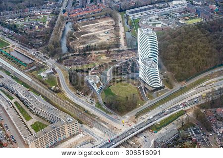 Groningen, The Netherlands - March 01, 2018: Aerial View City Of Goningen With Modern Skyscaper, The