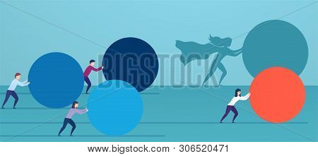Business Woman Superhero Pushes Red Sphere, Overtaking Competitors. Concept Of Winning Strategy, Bus