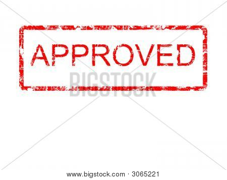 Approved Red Grunge Rubber Stamp