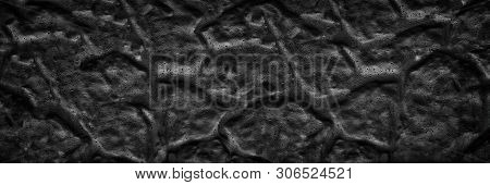 Black Panoramic Rippled Surface Background. Old Cement Wall Wide Texture. Dark Gloomy Backdrop