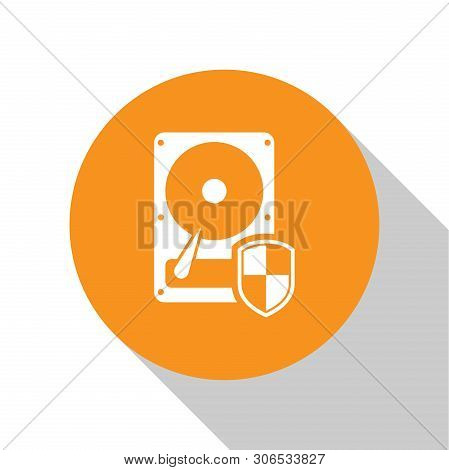White Hard disk drive HDD protection icon isolated on white background. Orange circle button. Flat design. Vector Illustration poster