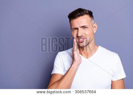 Close Up Photo Amazing He Him His Middle Age Macho Hand Arm Hold Cheekbone Teeth Terrible Pain Injur