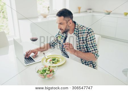 Portrait Of Serious Focused Man Mature Entrepreneur Dint Have Time Overworked Search Information New
