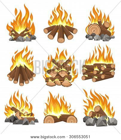 Bonfire Firewood. Vector Natural Campfire For Fireplace, Cartoonoutdoor Firewood With Fire Isolated