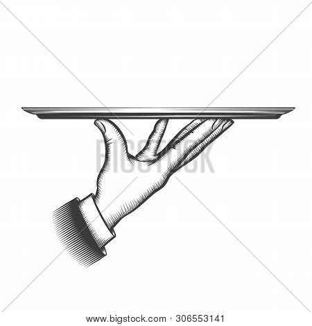 Butler Serving Tray. Service Waiter Hand Hold Dish For Food Or Tray For Catering Services In Sketchi
