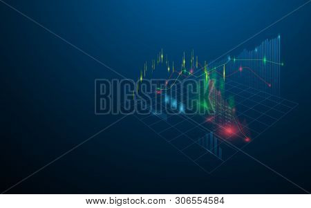 Stock Market Virtual Hologram Of Statistics, Graph And Chart On Dark Blue Background