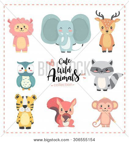 Cute Nursery Wild Animal Pastel Hand Drawn Collection, Llama, Elephant, Reindeer, Owl, Raccoon, Tige