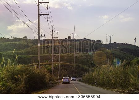 Driving On The Road On Top Of Mountain, Landscape Nature View On The Peak Of Hills, Roadside View In