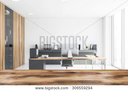 Blurred White And Wooden Ceo Office Interior
