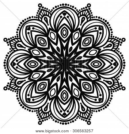 Flower Mandalas. Vintage Decorative Elements. Ornamental Round Doodle Flower Isolated On White Backg