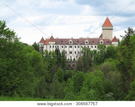 State Castle Konopiste In Spring, Cloudy Sky