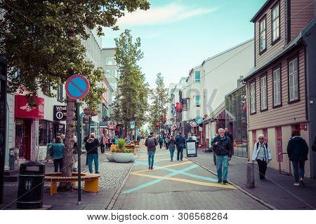 Reykjavik, Iceland - June 09, 2019: Reykjavik City In Summer Time. Reykjavik Is The Capital And Larg
