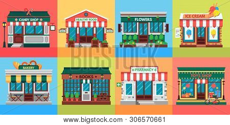 Local Shops Facades. Grocery Shop Doors, Old Boutique Store Building Front And Retail Stores Facade.