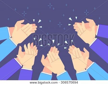 Applause Hands. Hand Claps, Applauding Congratulations And Success Clapping. Cheering Or Celebrating
