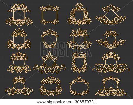 Royal Monogram Frame. Hand Drawn Crown Emblem, Vintage Doodle Sketch Sign And Elegant Monograms. Dec
