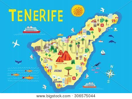 An Illustration Of The Island Of Tenerife, Part Of The Spanish Canary Islands And Popular Holiday De