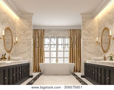 Luxurious Bathroom With White Marble Walls And  Floors, Black Marble Border ,decorated With Black Wo