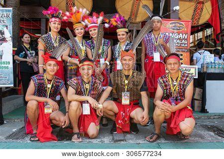 Kota Kinabalu, Malaysia - May 30, 2019:  Kadazan Dusun Borneo Native With Traditional Attire During