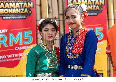 Kota Kinabalu, Malaysia - May 31, 2019: Kadazan Dusun Borneo Native With Traditional Attire During S