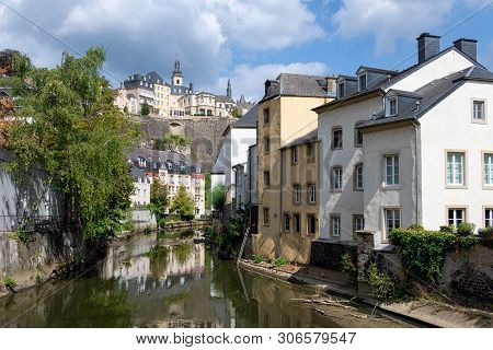 District Grund Downtown Luxembourg City, Houses And Trees Along Alzette River