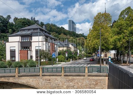 Luxembourg City, Luxembourg - August 21, 2018: Downtown Luxembourg City Along River Grund With View