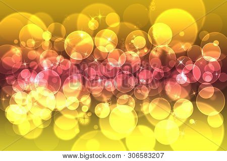 Yellow And Lilac Defocused Bokeh Pattern Wallpaper. Abstract Blurred Background.