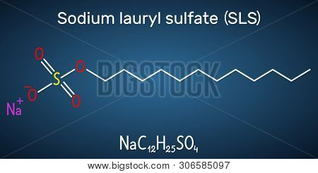 Sodium Dodecyl Sulfate Sds , Sodium Lauryl Sulfate Sls Molecule. It Is An Anionic Surfactant Used In