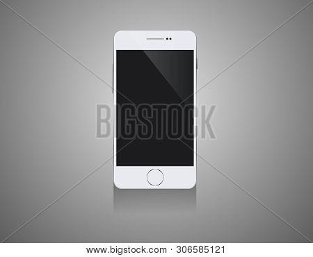 Mobile Smartphones Mock-up In White Colors- White Background Illustartion Design