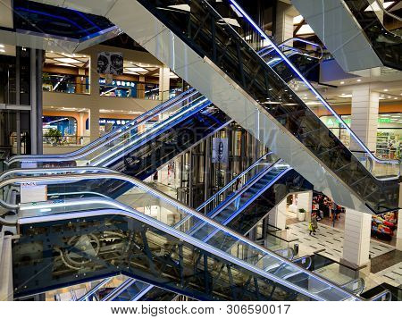 Voronezh, Russia - October 20, 2018: Intersecting Escalators, Shopping Center