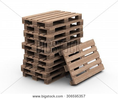 Group Of Wooden Pallets. Group Of Wooden Pallets In Stack Isolated On White Background. Isolated. 3d