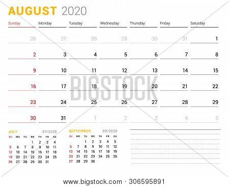 Calendar Template For August 2020. Business Planner. Stationery Design. Week Starts On Sunday. Vecto