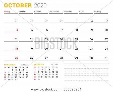 Calendar Template For October 2020. Business Planner. Stationery Design. Week Starts On Sunday. Vect