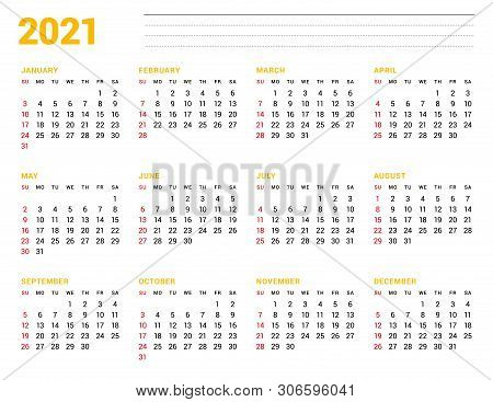 Calendar Template For 2021 Year. Stationery Design. Week Starts On Sunday. 12 Months On The Page. Ve