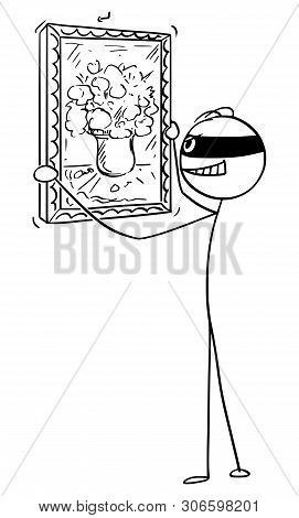 Vector Cartoon Stick Figure Drawing Conceptual Illustration Of Thief Stealing Painting In Museum, Ar