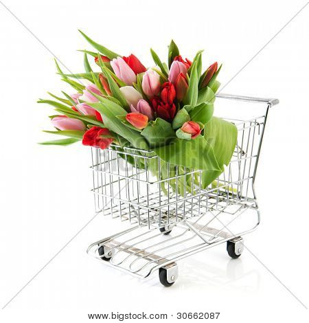 Shopping cart with bouquet colorful tulips isolated over white background