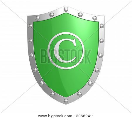 Copyright Protection Shield Isolated On The White Background