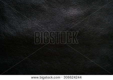 Genuine Black Full Grain Leather Texture