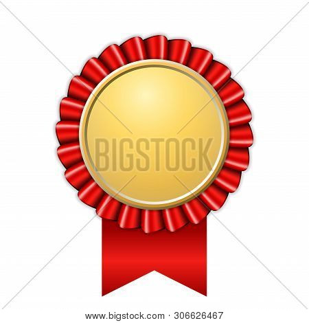 Award Ribbon Gold Icon. Golden Red Medal Design Isolated On White Background. Symbol Of Winner Celeb