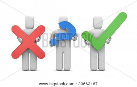 3d people with symbols. Accept or abort. Image contain clipping path