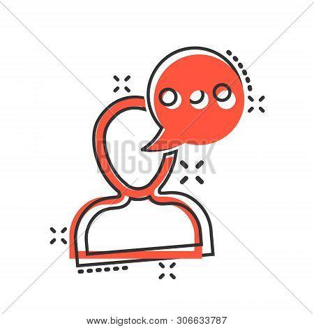 Man Head Mind Thinking Icon In Comic Style. Speech Bubble With People Vector Cartoon Illustration On