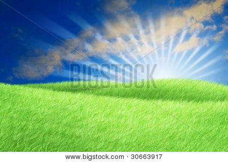 Green Field Blue Sky White Cloud And Sun Rays.