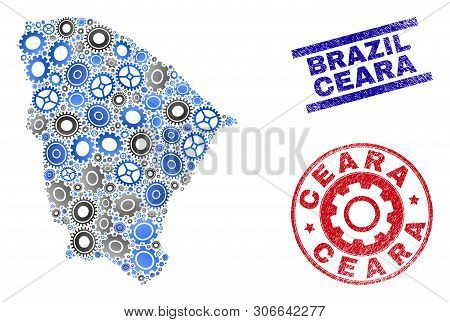 Mechanics Vector Ceara State Map Mosaic And Seals. Abstract Ceara State Map Is Composed Of Gradiente