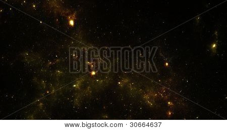 Abstract Design Nebula In Space. The Picture Stars On A Black Background.