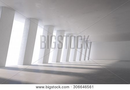White Concrete Room Interior With Columns. Large Industrial Hall, Car Parking Or Office Building Wit
