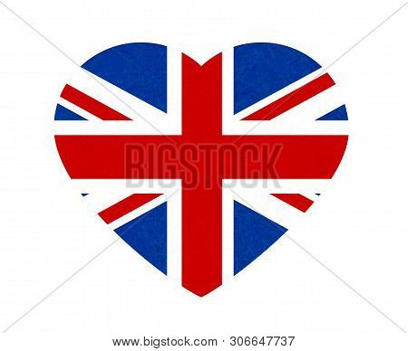 Grunge Flag Of Great Britain, Uk. Isolated English Banner With Scratched Texture In Shape Heart. Vec
