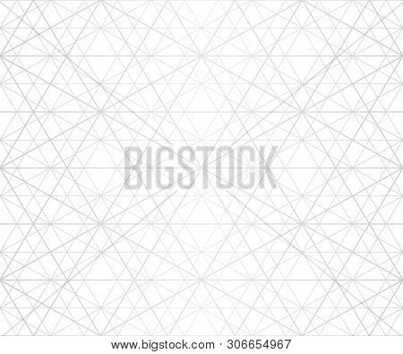 Silver Lines Seamless Pattern. Vector Geometric Texture With Delicate Grid, Lattice, Net, Thin Diago