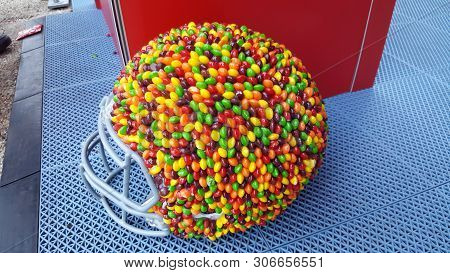 Chicago, Il April 28, 2016, Nfl Football Helmet Covered In Skittles On Display At The Nfl Draft Town